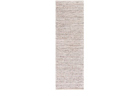 30X96 Rug-Leather And Cotton Grid Brown - Main