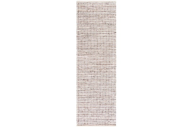 30X96 Rug-Leather And Cotton Grid Brown - 360