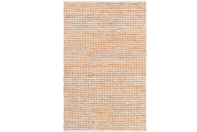 24X36 Rug-Leather And Cotton Grid Orange - 360
