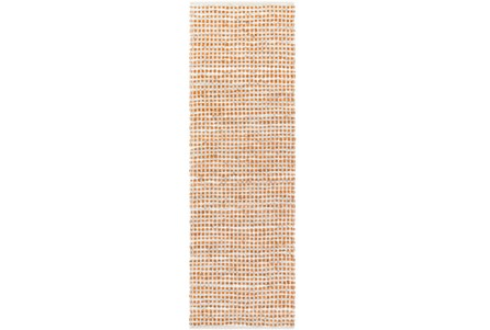 30X96 Rug-Leather And Cotton Grid Orange
