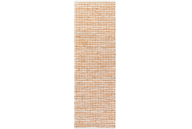 30X96 Rug-Leather And Cotton Grid Orange - 360