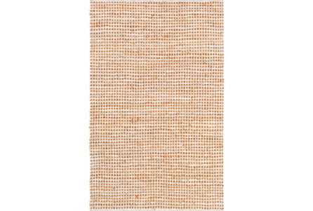 96X120 Rug-Leather And Cotton Grid Orange