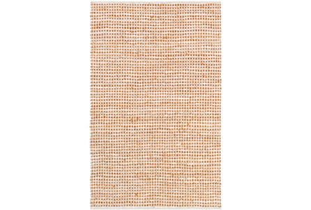 108X156 Rug-Leather And Cotton Grid Orange