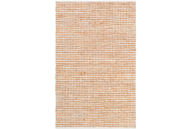 108X156 Rug-Leather And Cotton Grid Orange - 360