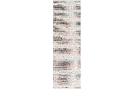 30X96 Rug-Leather And Cotton Grid Multi