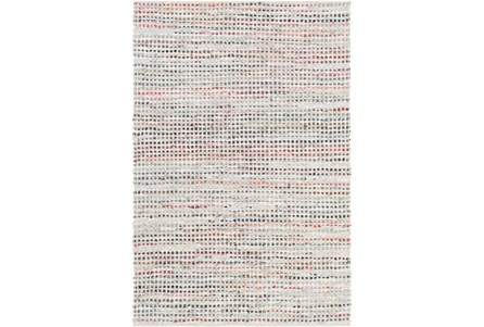 96X120 Rug-Leather And Cotton Grid Multi