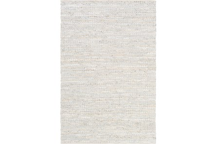 30X96 Rug-Leather And Cotton Grid Pale Blue