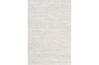 4'x6' Rug-Leather And Cotton Grid Pale Blue