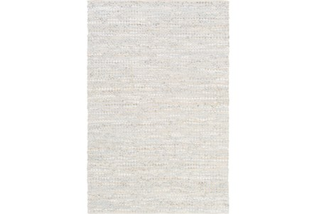 72X108 Rug-Leather And Cotton Grid Pale Blue