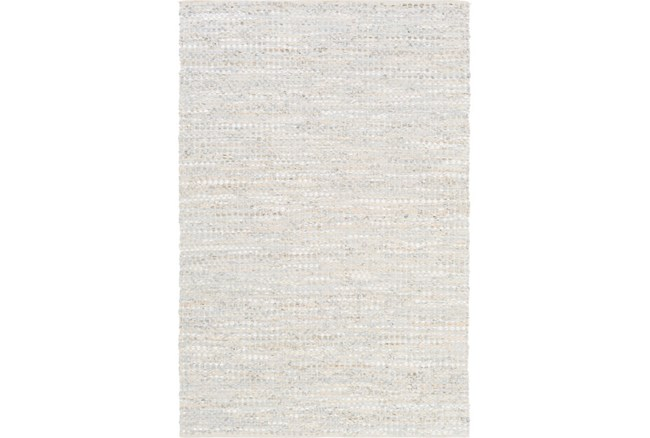 72X108 Rug-Leather And Cotton Grid Pale Blue - 360