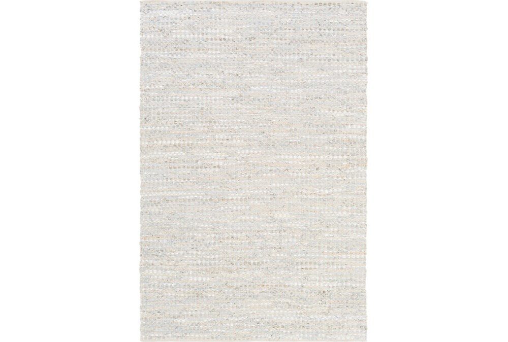96X120 Rug-Leather And Cotton Grid Pale Blue