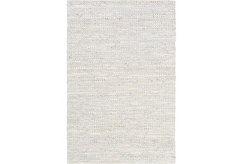 8'x10' Rug-Leather And Cotton Grid Pale Blue