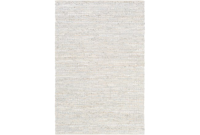96X120 Rug-Leather And Cotton Grid Pale Blue - 360