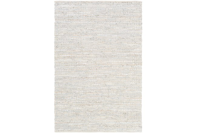 108X156 Rug-Leather And Cotton Grid Pale Blue - 360