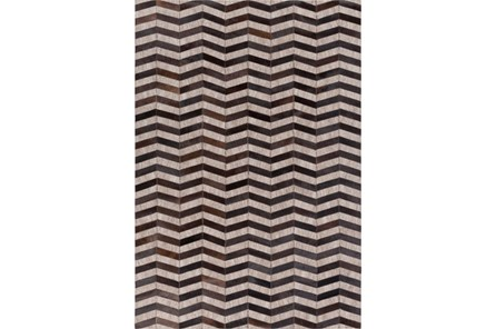 24X36 Rug-Viscose/Hide Chevron Black