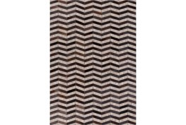 60X90 Rug-Viscose/Hide Chevron Black