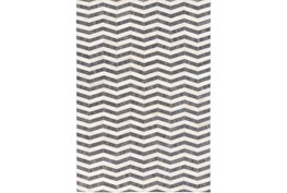 24X36 Rug-Viscose/Hide Chevron Dark Grey