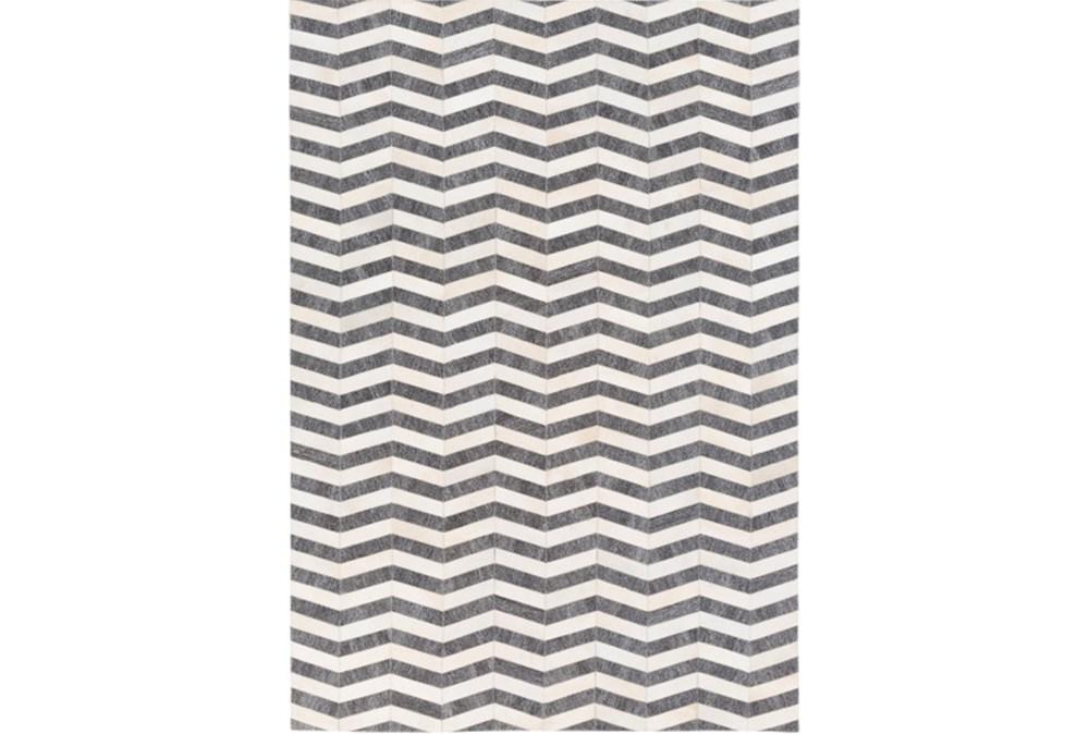 8'x10' Rug-Viscose/Hide Chevron Dark Grey