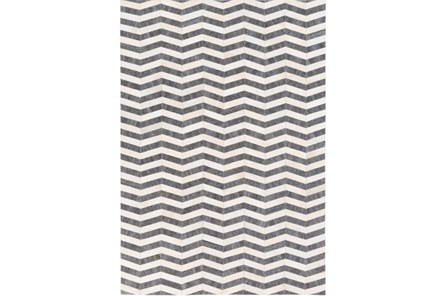 96X120 Rug-Viscose/Hide Chevron Dark Grey