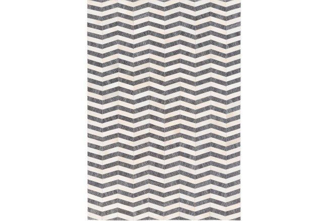 96X120 Rug-Viscose/Hide Chevron Dark Grey - 360