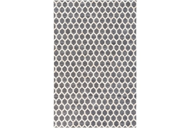 60X90 Rug-Viscose/Hide Honeycomb Charcoal - 360