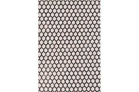 96X120 Rug-Viscose/Hide Honeycomb Black