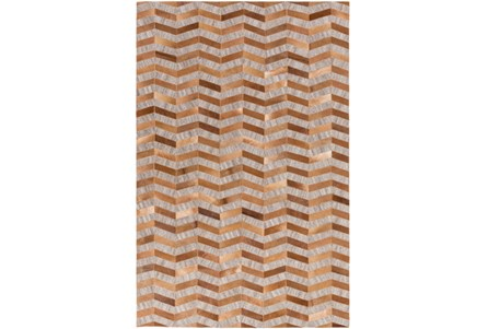 60X90 Rug-Viscose/Hide Chevron Tan