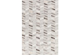 24X36 Rug-Viscose/Hide Chevron Grey