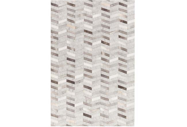 60X90 Rug-Viscose/Hide Chevron Grey - 360