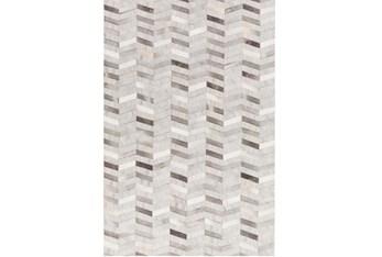 8'x10' Rug-Viscose/Hide Chevron Grey
