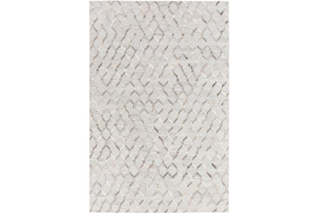 96X120 Rug-Viscose/Hide Honeycomb Light Grey - 360
