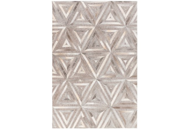 96X120 Rug-Viscose/Hide Triangles Taupe - 360