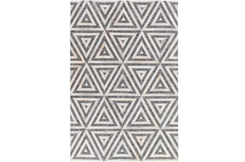 60X90 Rug-Viscose/Hide Triangles Charcoal