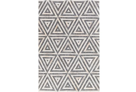 96X120 Rug-Viscose/Hide Triangles Charcoal