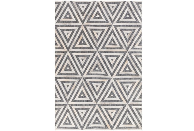 96X120 Rug-Viscose/Hide Triangles Charcoal - 360