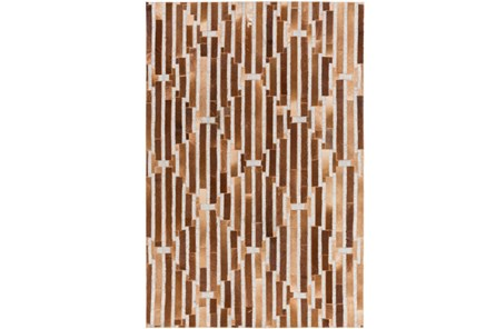 96X120 Rug-Viscose/Hide Lines Brown