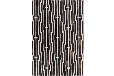 24X36 Rug-Viscose/Hide Lines Black