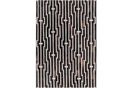 60X90 Rug-Viscose/Hide Lines Black