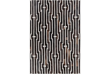 60X90 Rug-Viscose/Hide Lines Black
