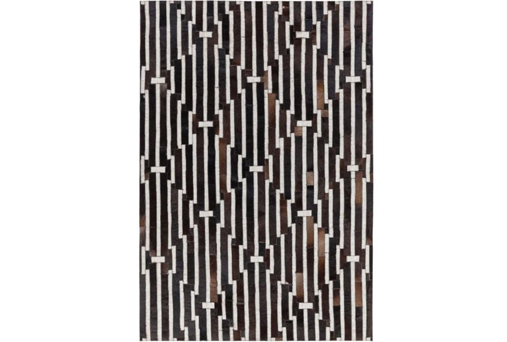 96X120 Rug-Viscose/Hide Lines Black