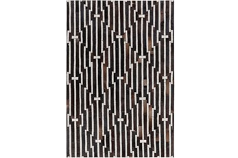 96X120 Rug-Viscose/Hide Lines Black