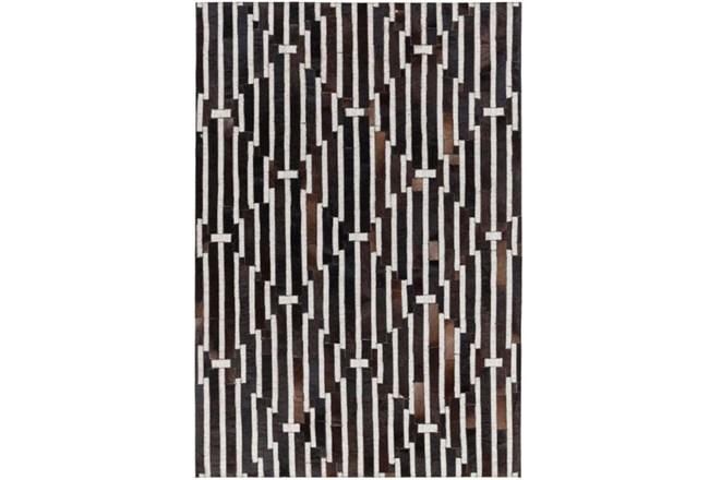 96X120 Rug-Viscose/Hide Lines Black - 360