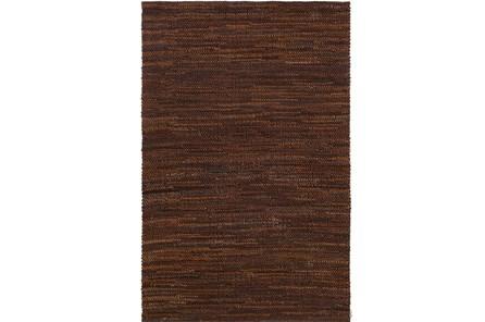 24X36 Rug-Leather Loops Dark Brown