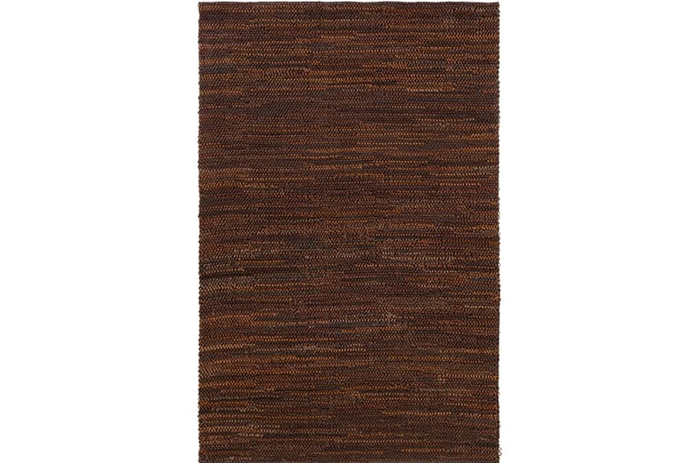 60X90 Rug-Leather Loops Dark Brown