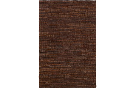 60X90 Rug-Leather Loops Dark Brown