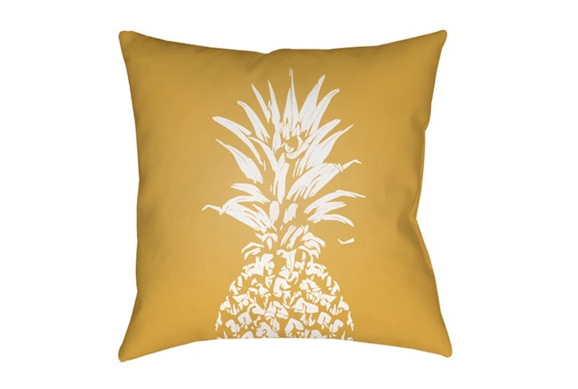 Outdoor Accent Pillow-Yellow Pineapple 18X18 - 360
