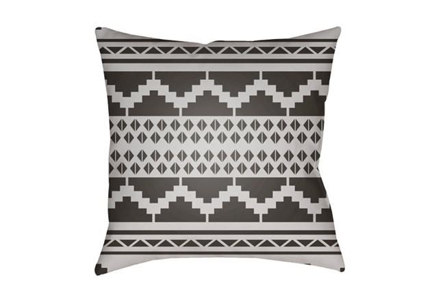 Outdoor Accent Pillow-Black And White Aztec 18X18 - 360