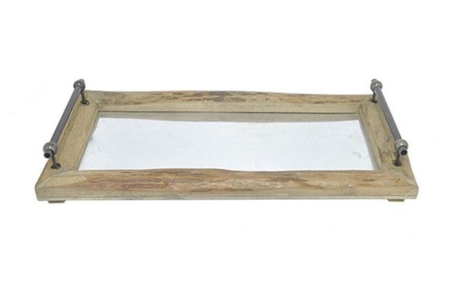 Outdoor-Wood And Metal Tray Large - 360