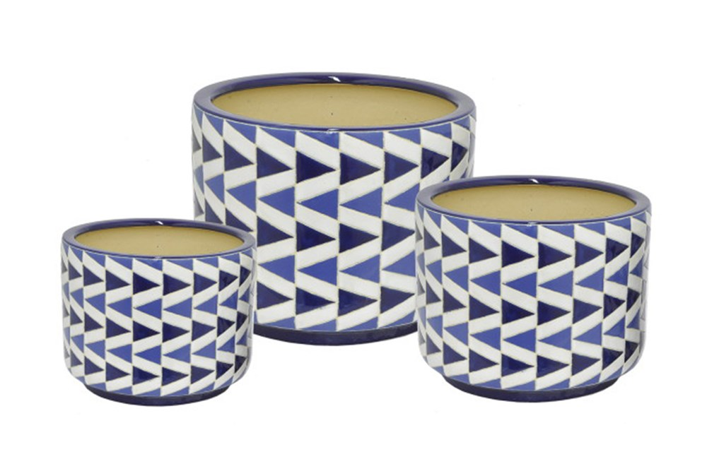 Outdoor-3 Piece Set Blue Geo Ceramic Planters