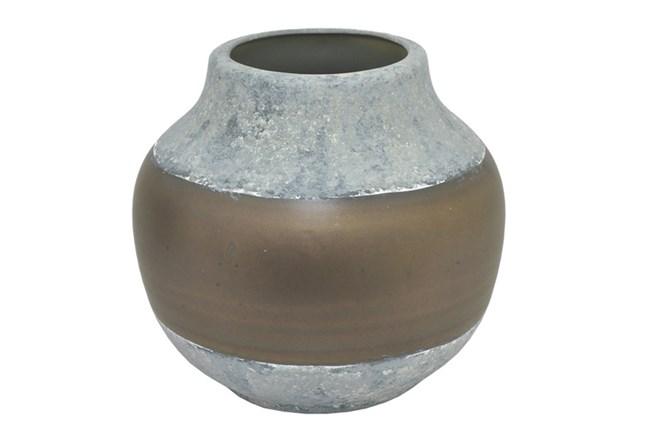 Outdoor-Grey And Burnishe Ceramic Vase Medium - 360